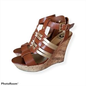 G by Guess Brown & Gold Wedge Heel Sandals NWOT 9